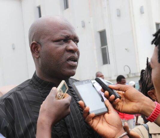 Okiyi John Kalu speaking to the press on RUGA