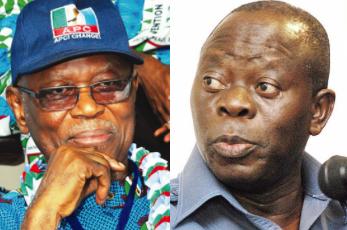 The former Chairman of apc John odigie oyegun and the current chairman, Oshiomhole